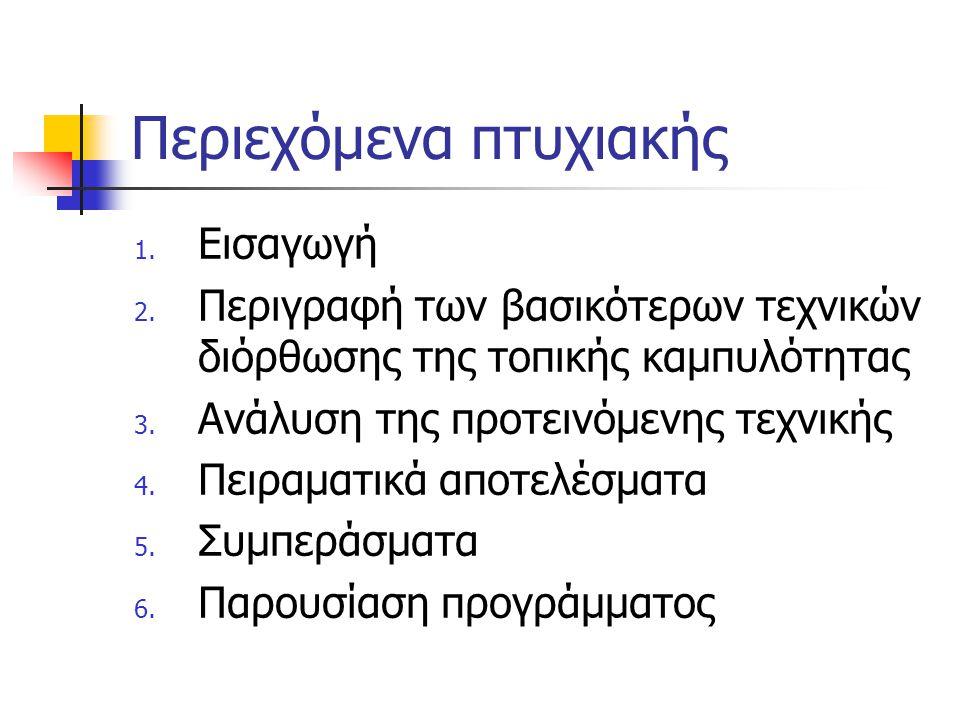 Περιεχόμενα πτυχιακής 1. Εισαγωγή 2. Περιγραφή των βασικότερων τεχνικών διόρθωσης της τοπικής καμπυλότητας 3. Ανάλυση της προτεινόμενης τεχνικής 4. Πε