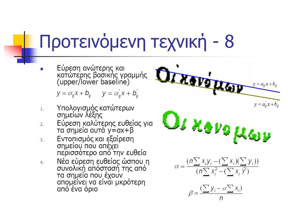 Προτεινόμενη τεχνική - 8  Εύρεση ανώτερης και κατώτερης βασικής γραμμής (upper/lower baseline) 1. Υπολογισμός κατώτερων σημείων λέξης 2. Εύρεση καλύτ