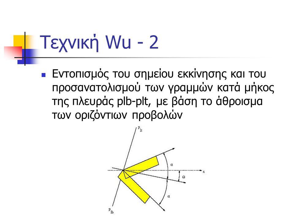 Τεχνική Wu - 3  Εντοπισμός των γραμμών του κειμένου με αθροιστική προβολή σε ένα εύρος διευθύνσεων