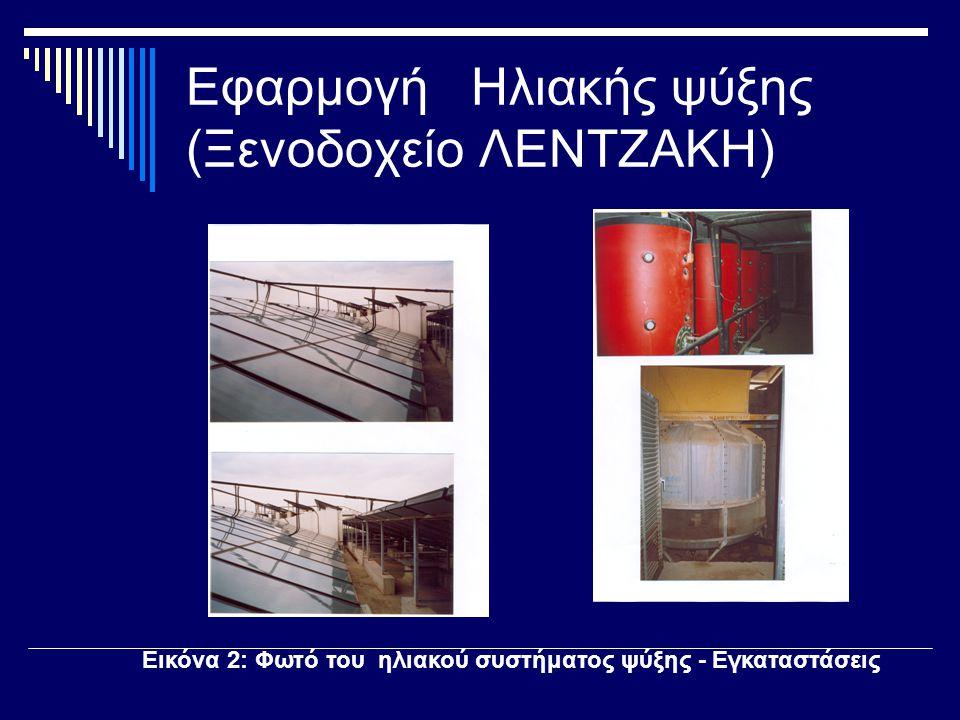 Εφαρμογή Ηλιακής ψύξης (Ξενοδοχείο ΛΕΝΤΖΑΚΗ) Εικόνα 2: Φωτό του ηλιακού συστήματος ψύξης - Εγκαταστάσεις