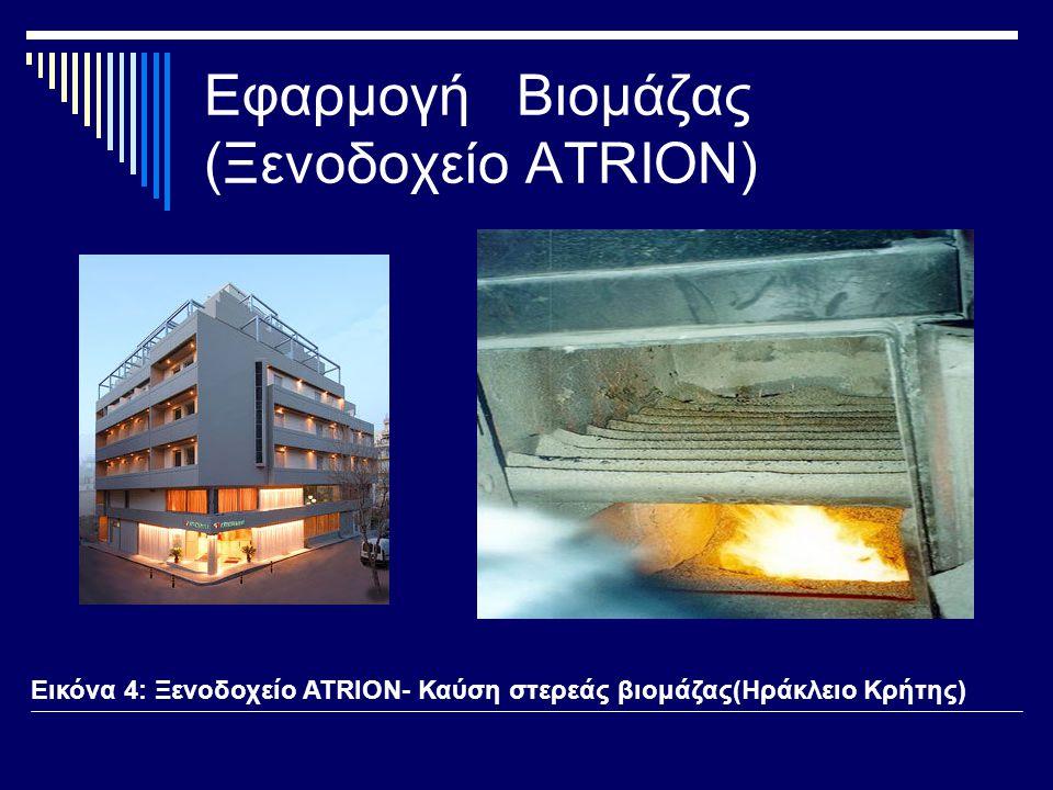 Εφαρμογή Βιομάζας (Ξενοδοχείο ATRION) Εικόνα 4: Ξενοδοχείο ATRION- Καύση στερεάς βιομάζας(Ηράκλειο Κρήτης)