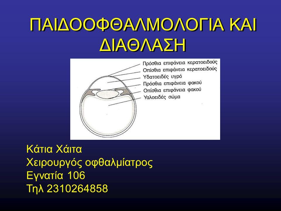 ΠΑΙΔΟΟΦΘΑΛΜΟΛΟΓΙΑ ΚΑΙ ΔΙΑΘΛΑΣΗ Κάτια Χάιτα Χειρουργός οφθαλμίατρος Εγνατία 106 Τηλ 2310264858