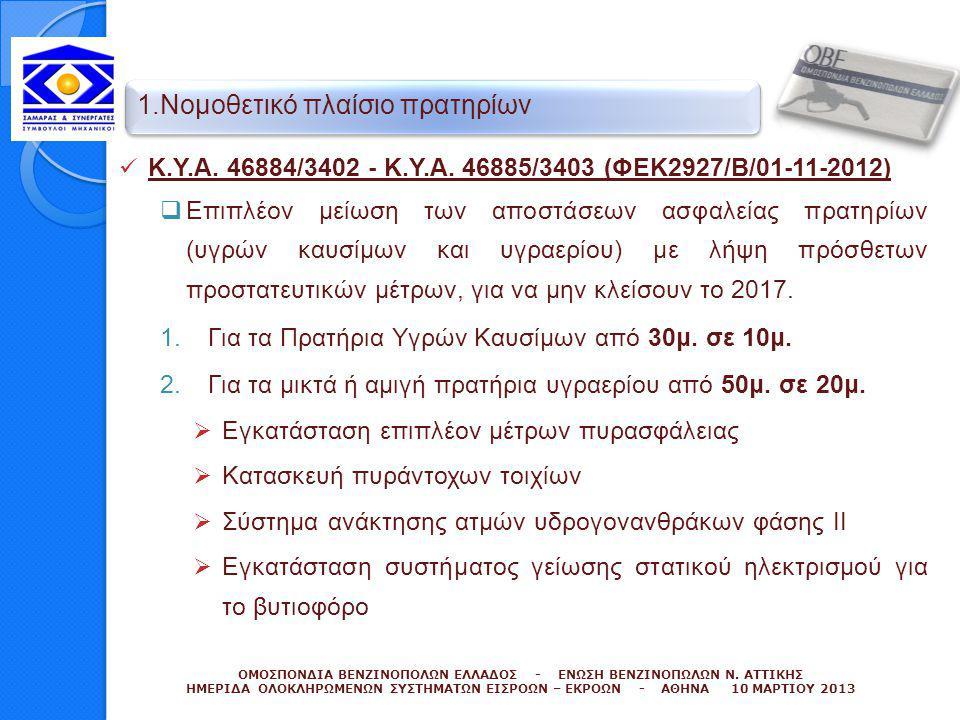  Κ.Υ.Α. 46884/3402 - Κ.Υ.Α. 46885/3403 (ΦΕΚ2927/Β/01-11-2012)  Επιπλέον μείωση των αποστάσεων ασφαλείας πρατηρίων (υγρών καυσίμων και υγραερίου) με