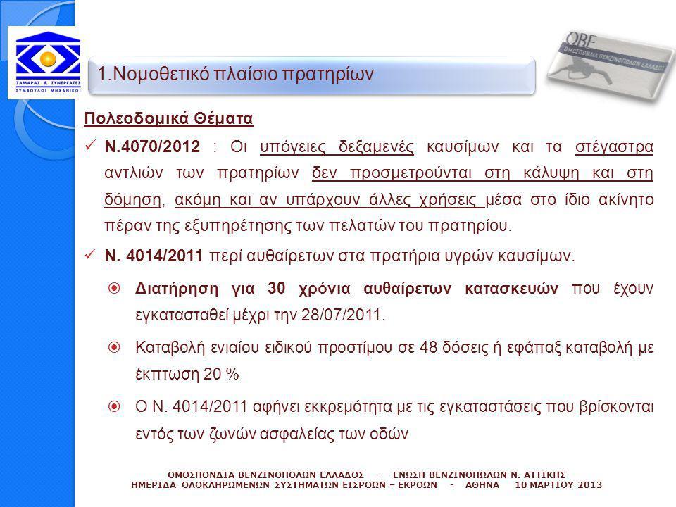 Πολεοδομικά Θέματα  Ν.4070/2012 : Οι υπόγειες δεξαμενές καυσίμων και τα στέγαστρα αντλιών των πρατηρίων δεν προσμετρούνται στη κάλυψη και στη δόμηση,