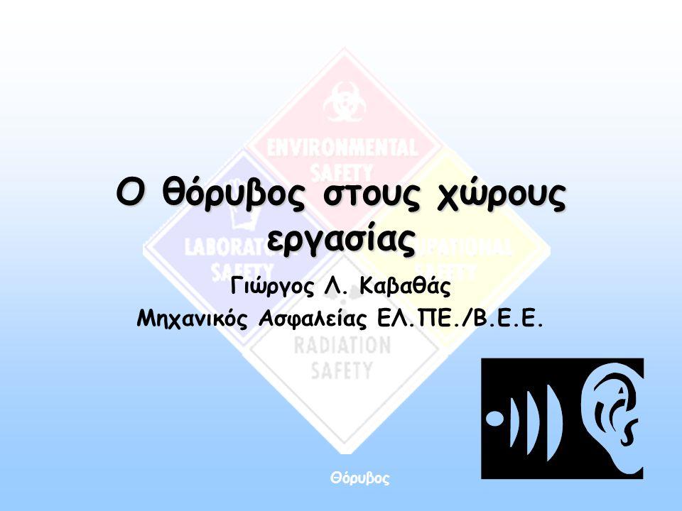 Θόρυβος Τεχνική πρόληψη •Περιορισμός του θορύβου στην πηγή του Οταν δεν είναι δυνατόν να αντικατασταθεί η παλαιά θορυβώδης μηχανή με μια καινούργια λιγότερο θορυβώδη, θα πρέπει να εντοπιστούν και να αλλαχθούν εκείνα τα εξαρτήματα που προκαλούν υψηλές στάθμες θορύβου.
