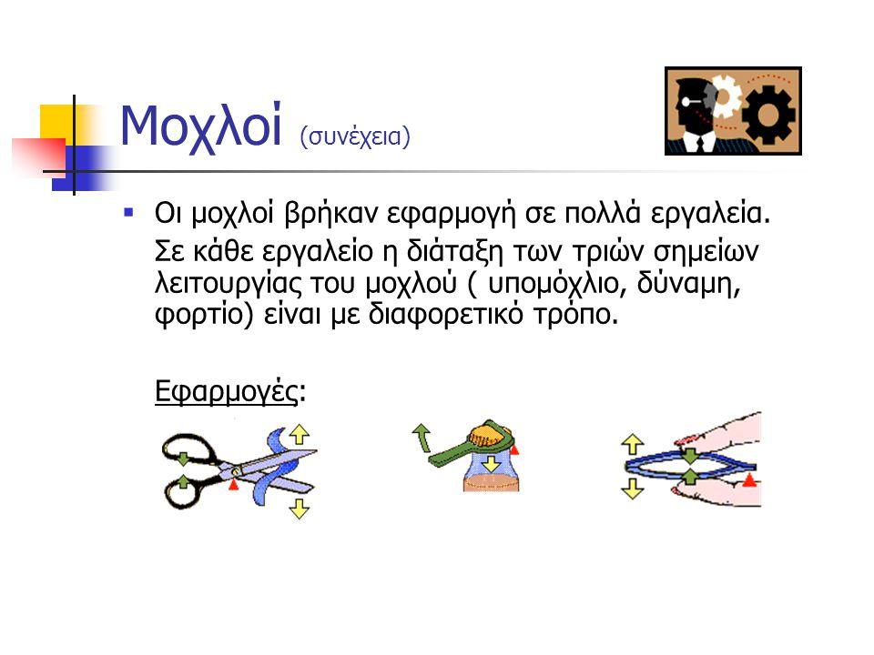 Μοχλοί  Μοχλός ονομάζεται μια ράβδος η οποία μπορεί να περιστραφεί γύρω από σταθερό σημείο (υπομόχλιο), όταν εφαρμοστεί πάνω της κάποια δύναμη (εισερ