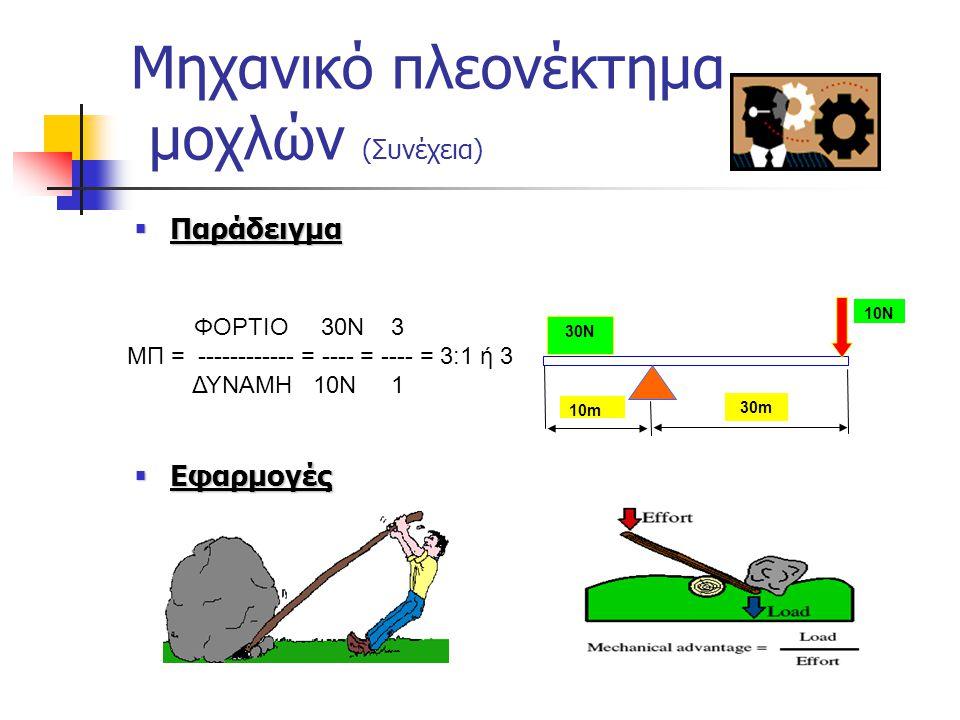 Μηχανικό πλεονέκτημα μοχλών  Μηχανικό Πλεονέκτημα είναι ο αριθμός που δείχνει πόσες φορές πολλαπλασιάζεται η εισερχόμενη δύναμη με την χρήση κάποιου
