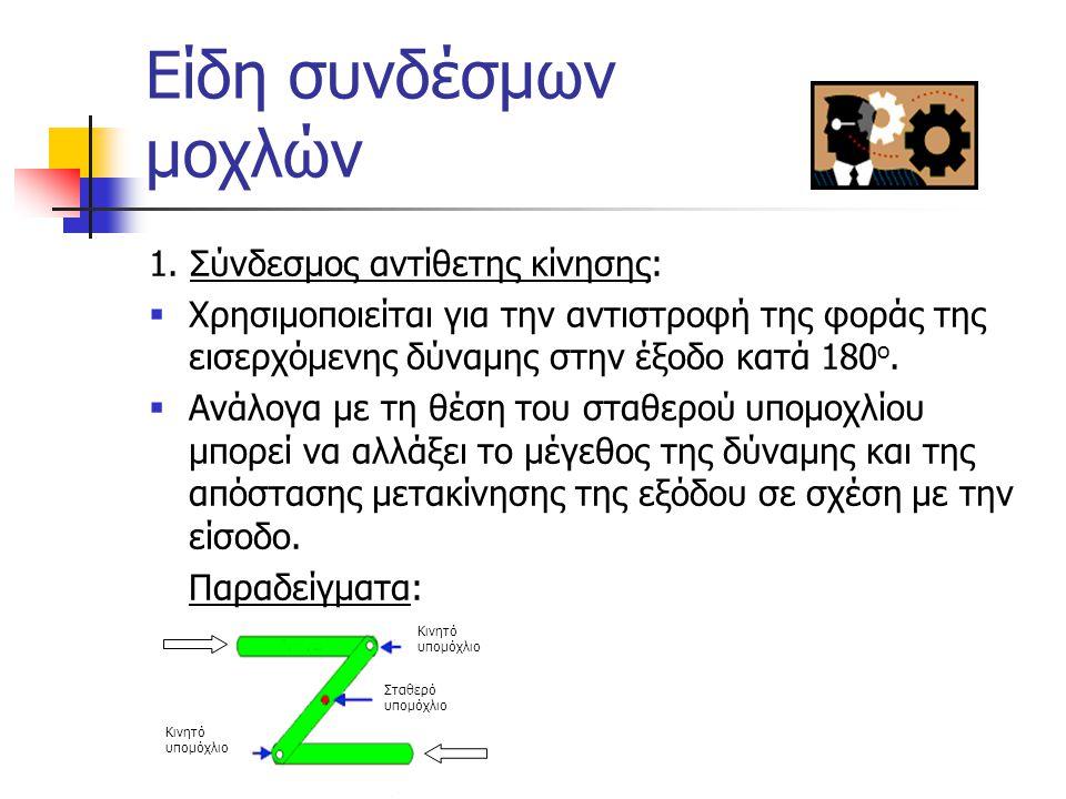 Σύνδεσμοι μοχλών  Είναι οι συνδέσεις δύο ή περισσοτέρων απλών μοχλών και χρησιμοποιούνται για την εκτέλεση πολύπλοκων εργασιών. Παραδείγματα / Εφαρμο