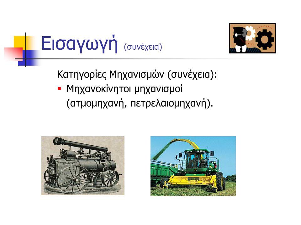 Εισαγωγή (συνέχεια) Κατηγορίες Μηχανισμών:  Χωρίζονται σε τρεις κατηγορίες:  Χειροκίνητοι μηχανισμοί (μοχλός, κεκλιμένο επίπεδο, αλακάτι). Κεκλιμένο