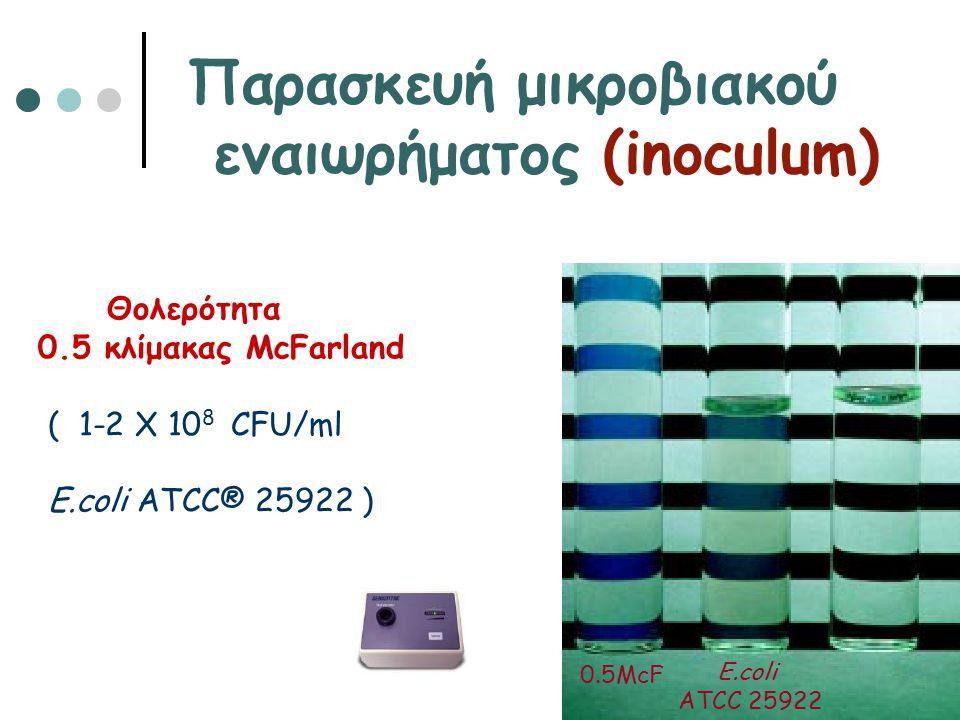 Παρασκευή μικροβιακού εναιωρήματος (inoculum) Θολερότητα 0.5 κλίμακας McFarland ( 1-2 Χ 10 8 CFU/ml E.coli ATCC® 25922 ) ή με φωτόμετρο 0.5McF E.coli