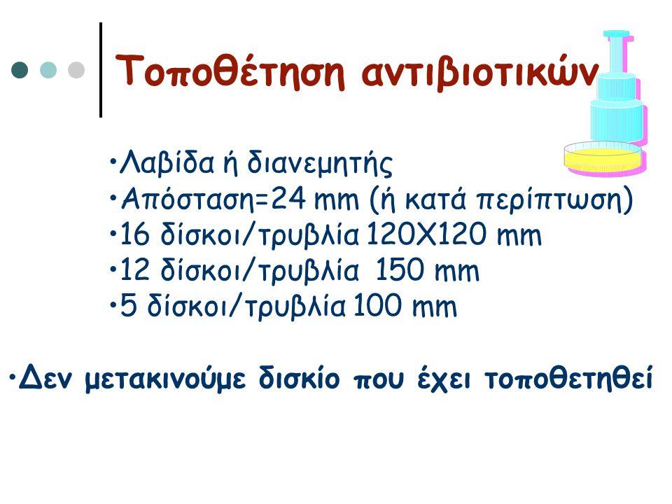 Τοποθέτηση αντιβιοτικών •Λαβίδα ή διανεμητής •Απόσταση=24 mm (ή κατά περίπτωση) •16 δίσκοι/τρυβλία 120Χ120 mm •12 δίσκοι/τρυβλία 150 mm •5 δίσκοι/τρυβ