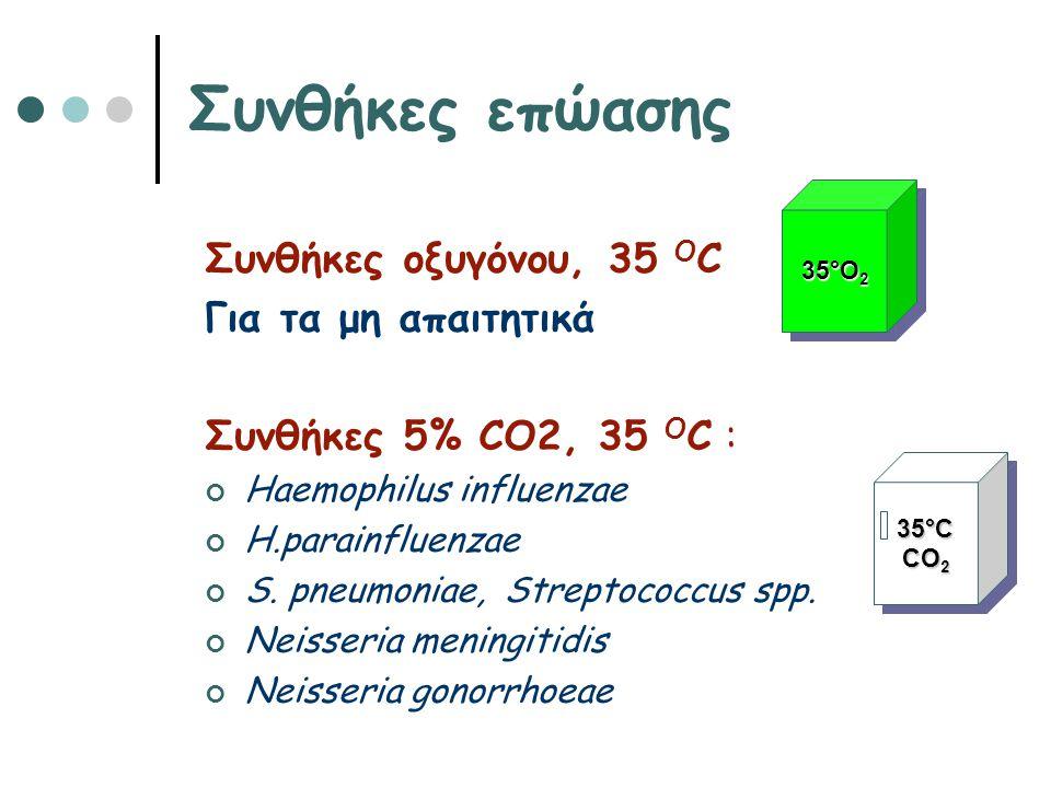 Συνθήκες επώασης Συνθήκες οξυγόνου, 35 O C Για τα μη απαιτητικά Συνθήκες 5% CO2, 35 Ο C : Haemophilus influenzae H.parainfluenzae S. pneumoniae, Strep