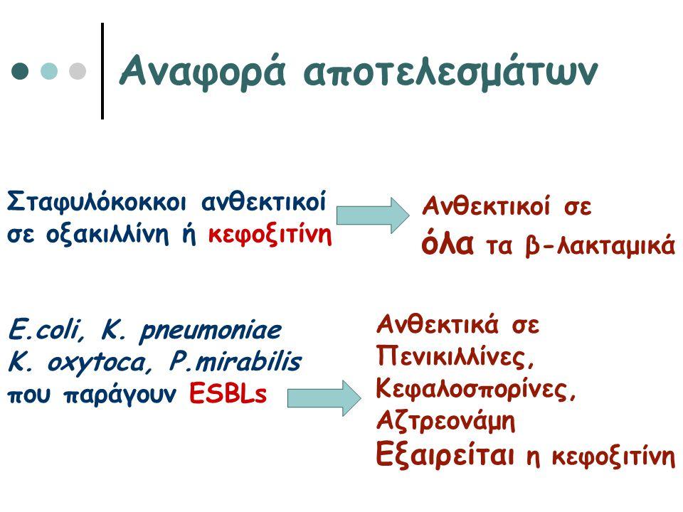 Αναφορά αποτελεσμάτων Σταφυλόκοκκοι ανθεκτικοί σε οξακιλλίνη ή κεφοξιτίνη Ανθεκτικοί σε όλα τα β-λακταμικά E.coli, K. pneumoniae K. oxytoca, P.mirabil