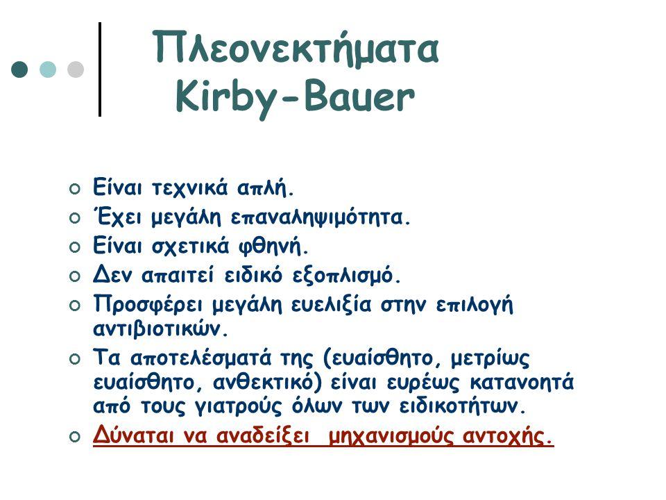 Πλεονεκτήματα Kirby-Bauer Είναι τεχνικά απλή. Έχει μεγάλη επαναληψιμότητα. Είναι σχετικά φθηνή. Δεν απαιτεί ειδικό εξοπλισμό. Προσφέρει μεγάλη ευελιξί