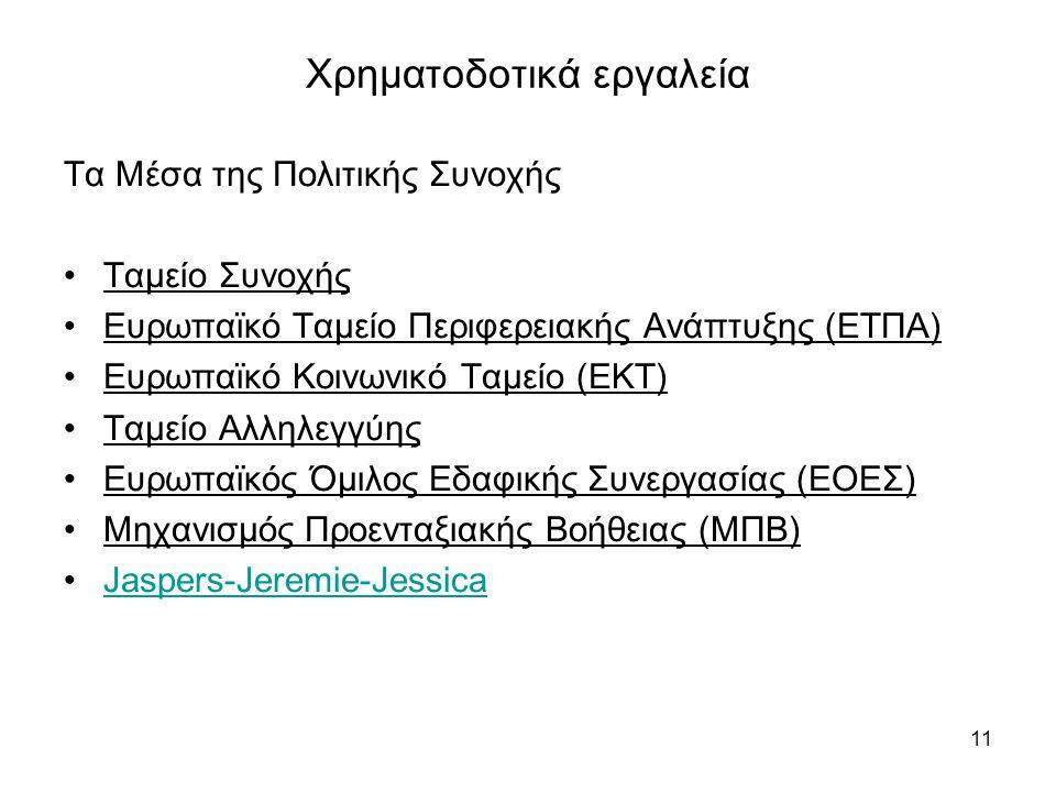 11 Χρηματοδοτικά εργαλεία Τα Μέσα της Πολιτικής Συνοχής •Ταμείο Συνοχής •Ευρωπαϊκό Ταμείο Περιφερειακής Ανάπτυξης (ΕΤΠΑ) •Ευρωπαϊκό Κοινωνικό Ταμείο (ΕΚΤ) •Ταμείο Αλληλεγγύης •Ευρωπαϊκός Όμιλος Εδαφικής Συνεργασίας (ΕΟΕΣ) •Μηχανισμός Προενταξιακής Βοήθειας (ΜΠΒ) •Jaspers-Jeremie-JessicaJaspers-Jeremie-Jessica