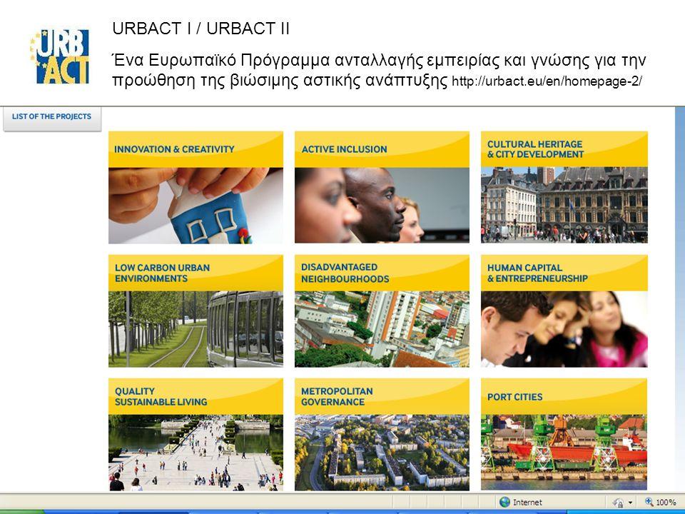 22 URBACT I / URBACT II Ένα Ευρωπαϊκό Πρόγραμμα ανταλλαγής εμπειρίας και γνώσης για την προώθηση της βιώσιμης αστικής ανάπτυξης http://urbact.eu/en/homepage-2/