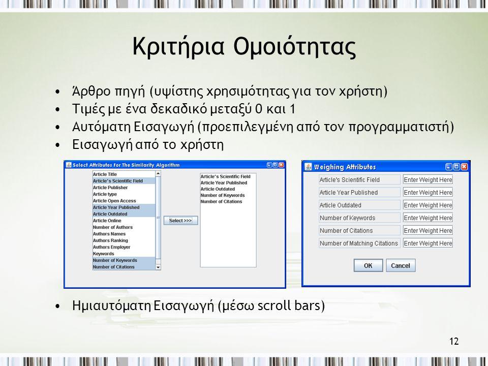 12 Κριτήρια Ομοιότητας •Άρθρο πηγή (υψίστης χρησιμότητας για τον χρήστη) •Τιμές με ένα δεκαδικό μεταξύ 0 και 1 •Αυτόματη Εισαγωγή (προεπιλεγμένη από τον προγραμματιστή) •Εισαγωγή από το χρήστη •Ημιαυτόματη Εισαγωγή (μέσω scroll bars)