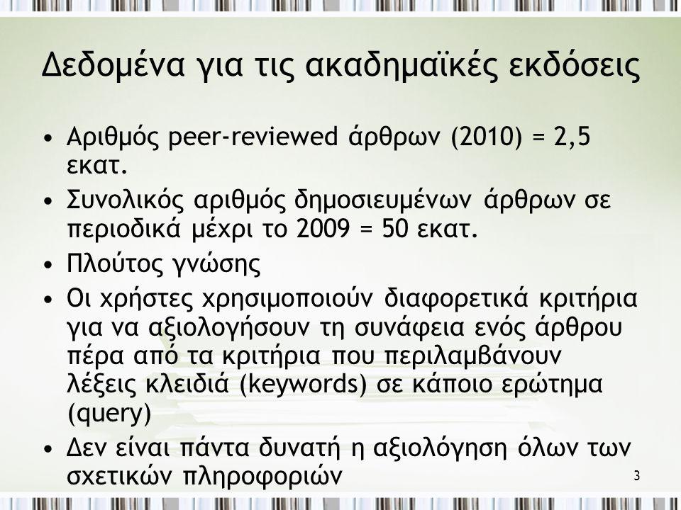 3 Δεδομένα για τις ακαδημαϊκές εκδόσεις •Αριθμός peer-reviewed άρθρων (2010) = 2,5 εκατ.