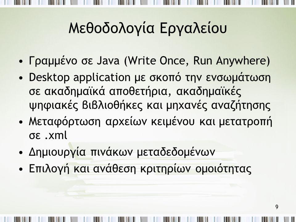 9 Μεθοδολογία Εργαλείου •Γραμμένο σε Java (Write Once, Run Anywhere) •Desktop application με σκοπό την ενσωμάτωση σε ακαδημαϊκά αποθετήρια, ακαδημαϊκές ψηφιακές βιβλιοθήκες και μηχανές αναζήτησης •Μεταφόρτωση αρχείων κειμένου και μετατροπή σε.xml •Δημιουργία πινάκων μεταδεδομένων •Επιλογή και ανάθεση κριτηρίων ομοιότητας