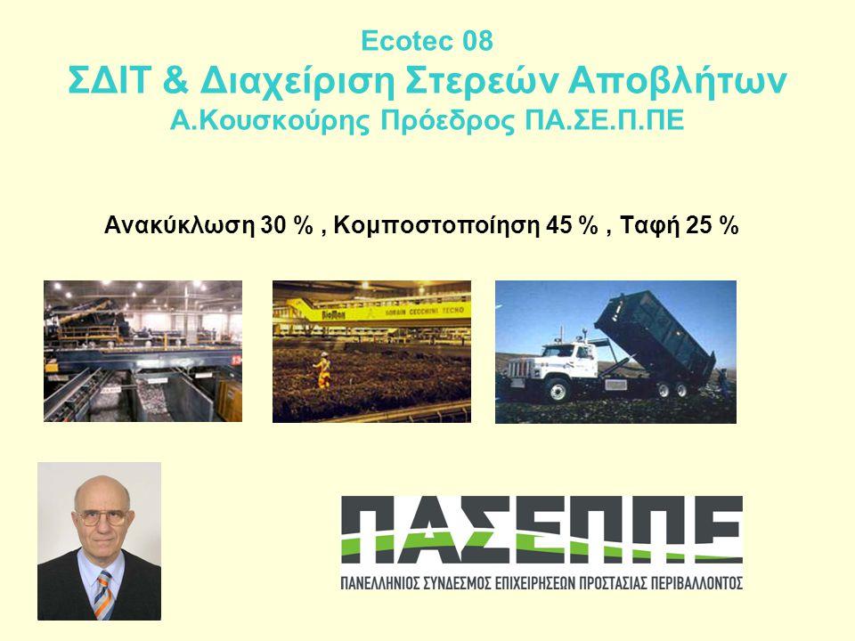 Ecotec 08 ΣΔΙΤ & Διαχείριση Στερεών Αποβλήτων Α.Κουσκούρης Πρόεδρος ΠΑ.ΣΕ.Π.ΠΕ Ανακύκλωση 30 %, Κομποστοποίηση 45 %, Ταφή 25 %