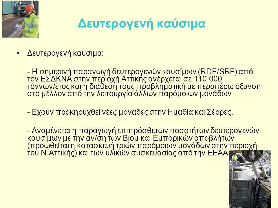 Δευτερογενή καύσιμα •Δευτερογενή καύσιμα: - Η σημερινή παραγωγή δευτερογενών καυσίμων (RDF/SRF) από τον ΕΣΔΚΝΑ στην περιοχή Αττικής ανέρχεται σε 110.0