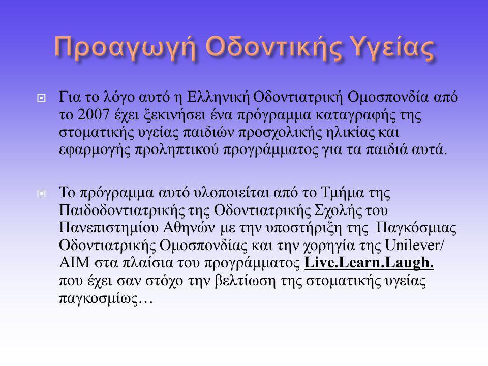  Για το λόγο αυτό η Ελληνική Οδοντιατρική Ομοσπονδία από το 2007 έχει ξεκινήσει ένα πρόγραμμα καταγραφής της στοματικής υγείας παιδιών προσχολικής ηλικίας και εφαρμογής προληπτικού προγράμματος για τα παιδιά αυτά.