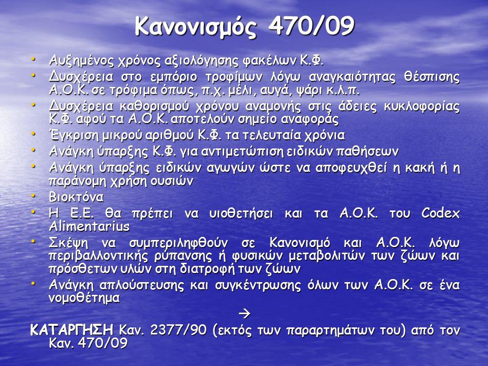 Κανονισμός 470/09 Ορισμοί-1 • Ανώτατο Όριο Καταλοίπων: ανώτατη συγκέντρωση καταλοίπων μίας φαρμακολογικά δραστικής ουσίας, η οποία μπορεί να επιτρέπεται σε τρόφιμα ζωικής προέλευσης • Σημείο Αναφοράς για Δράση: το επίπεδο καταλοίπων μίας φαρμακολογικά δραστικής ουσίας το οποίο καθορίζεται με σκοπό τον έλεγχο σε περίπτωση ορισμένων ουσιών για τις οποίες δεν έχει καθοριστεί Α.Ο.Κ.