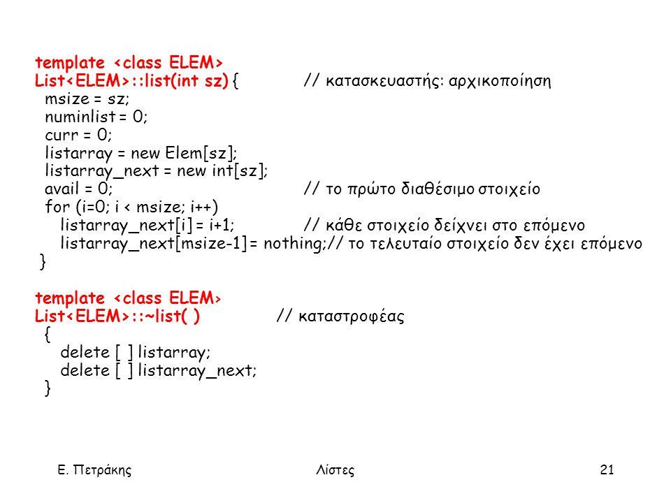 Ε. ΠετράκηςΛίστες21 template List ::list(int sz) {// κατασκευαστής: αρχικοποίηση msize = sz; numinlist = 0; curr = 0; listarray = new Elem[sz]; listar