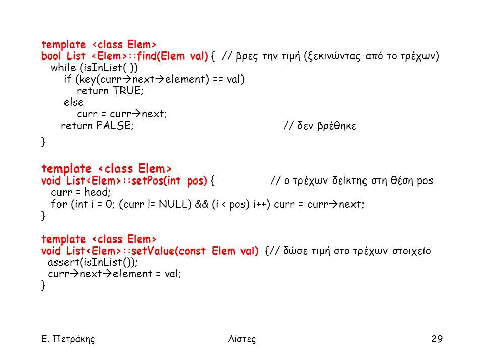 Ε. ΠετράκηςΛίστες29 template bool List ::find(Elem val) { // βρες την τιμή (ξεκινώντας από το τρέχων) while (isInList( )) if (key(curr  next  elemen
