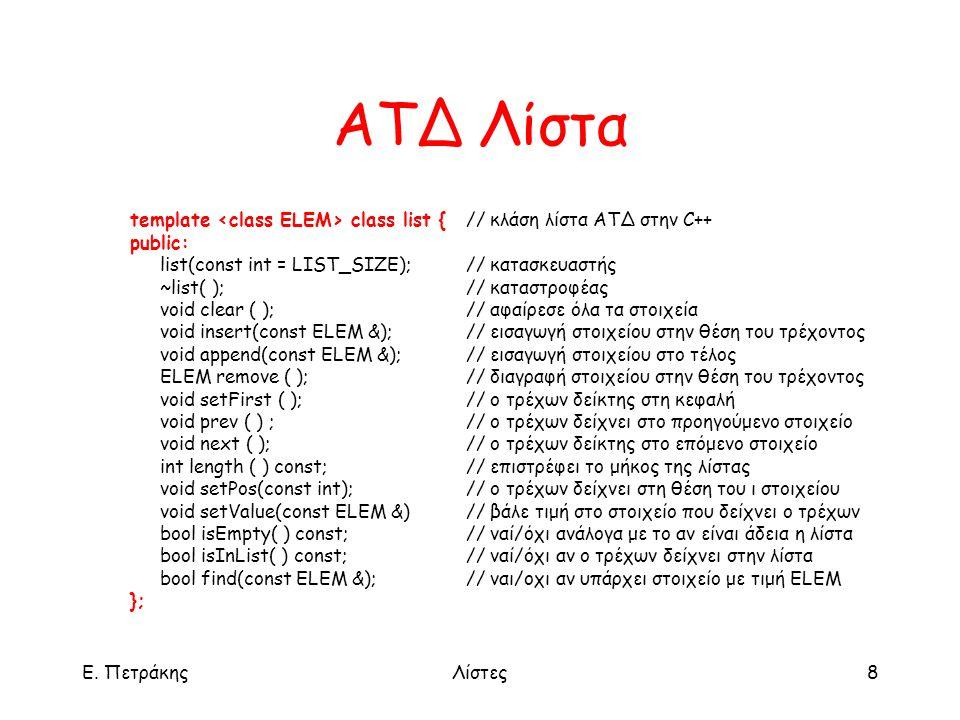Ε. ΠετράκηςΛίστες8 ΑΤΔ Λίστα template class list {// κλάση λίστα ΑΤΔ στην C++ public: list(const int = LIST_SIZE); // κατασκευαστής ~list( );// καταστ