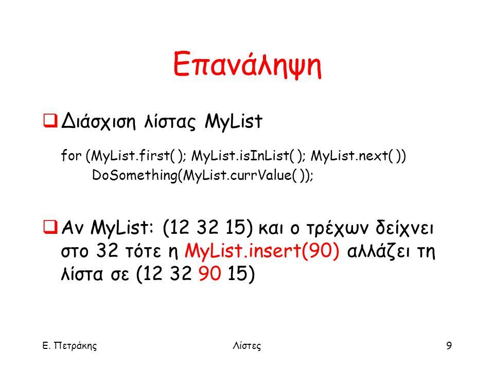 Ε. ΠετράκηςΛίστες9 Επανάληψη  Διάσχιση λίστας MyList for (MyList.first( ); MyList.isInList( ); MyList.next( )) DoSomething(MyList.currValue( ));  Αν