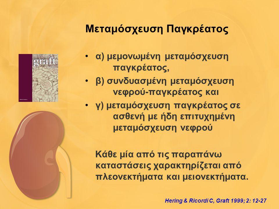 Μεταμόσχευση Παγκρέατος •α) μεμονωμένη μεταμόσχευση παγκρέατος, •β) συνδυασμένη μεταμόσχευση νεφρού-παγκρέατος και •γ) μεταμόσχευση παγκρέατος σε ασθε