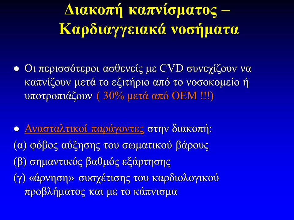 Διακοπή καπνίσματος – Καρδιαγγειακά νοσήματα  Οι περισσότεροι ασθενείς με CVD συνεχίζουν να καπνίζουν μετά το εξιτήριο από το νοσοκομείο ή υποτροπιάζουν ( 30% μετά από ΟΕΜ !!!)  Ανασταλτικοί παράγοντες στην διακοπή: (α) φόβος αύξησης του σωματικού βάρους (β) σημαντικός βαθμός εξάρτησης (γ) «άρνηση» συσχέτισης του καρδιολογικού προβλήματος και με το κάπνισμα