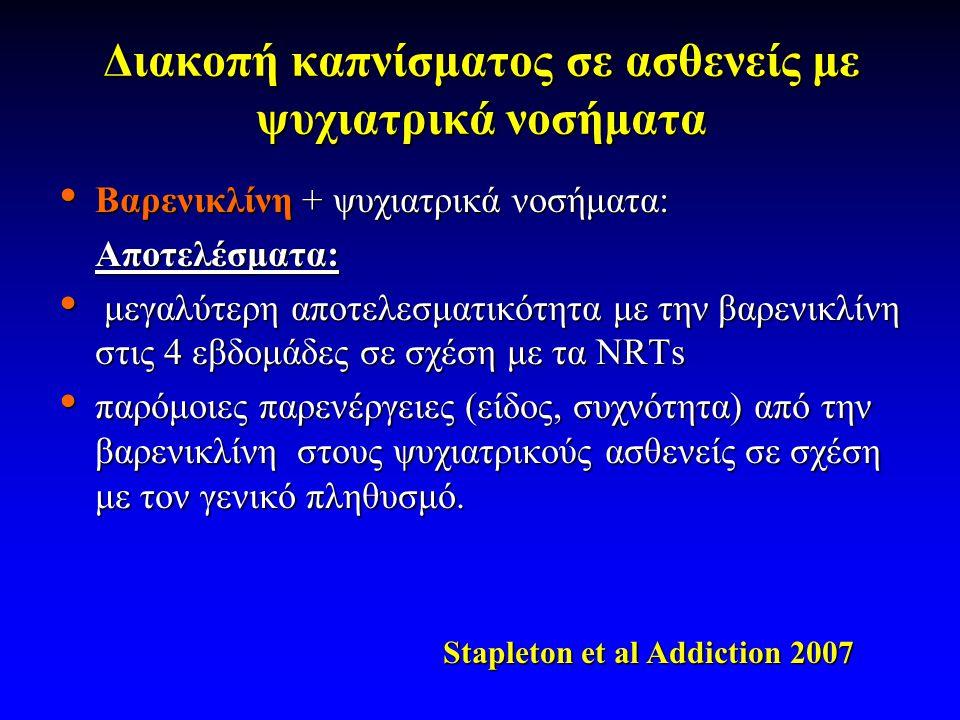 Διακοπή καπνίσματος σε ασθενείς με ψυχιατρικά νοσήματα • Βαρενικλίνη + ψυχιατρικά νοσήματα: Αποτελέσματα: • μεγαλύτερη αποτελεσματικότητα με την βαρενικλίνη στις 4 εβδομάδες σε σχέση με τα NRTs • παρόμοιες παρενέργειες (είδος, συχνότητα) από την βαρενικλίνη στους ψυχιατρικούς ασθενείς σε σχέση με τον γενικό πληθυσμό.