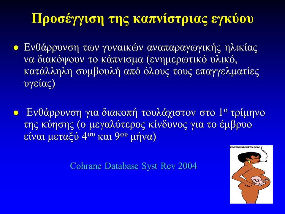 Προσέγγιση της καπνίστριας εγκύου  Ενθάρρυνση των γυναικών αναπαραγωγικής ηλικίας να διακόψουν το κάπνισμα (ενημερωτικό υλικό, κατάλληλη συμβουλή από όλους τους επαγγελματίες υγείας)  Ενθάρρυνση για διακοπή τουλάχιστον στο 1 ο τρίμηνο της κύησης (ο μεγαλύτερος κίνδυνος για το έμβρυο είναι μεταξύ 4 ου και 9 ου μήνα) Cohrane Database Syst Rev 2004