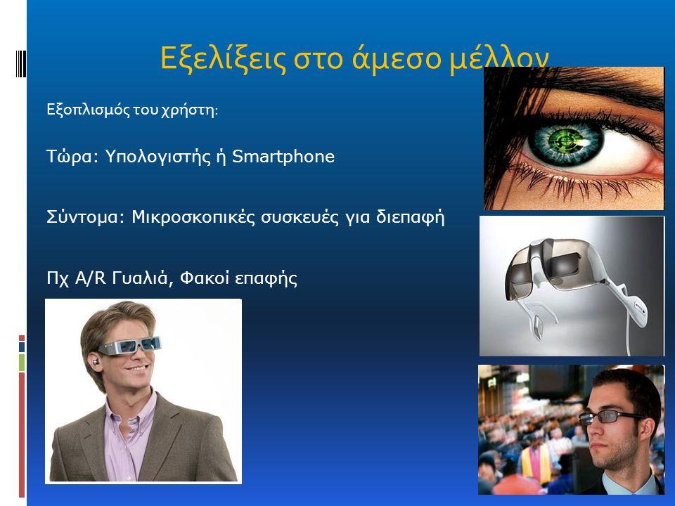 Εξοπλισμός του χρήστη: Τώρα: Υπολογιστής ή Smartphone Σύντομα: Μικροσκοπικές συσκευές για διεπαφή Πχ A/R Γυαλιά, Φακοί επαφής Εξελίξεις στο άμεσο μέλλ