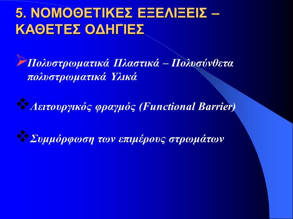 5. ΝΟΜΟΘΕΤΙΚΕΣ ΕΞΕΛΙΞΕΙΣ – ΚΑΘΕΤΕΣ ΟΔΗΓΙΕΣ  Πολυστρωματικά Πλαστικά – Πολυσύνθετα πολυστρωματικά Υλικά  Λειτουργικός φραγμός (Functional Barrier) 