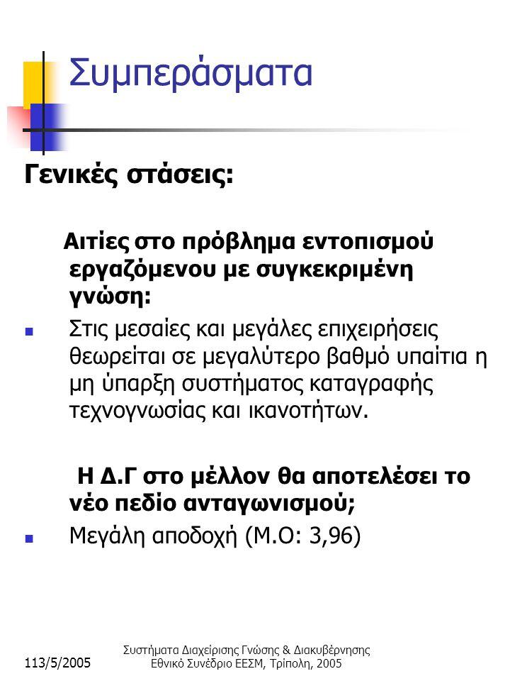 113/5/2005 Συστήματα Διαχείρισης Γνώσης & Διακυβέρνησης Εθνικό Συνέδριο ΕΕΣΜ, Τρίπολη, 2005 Συμπεράσματα Γενικές στάσεις: Αιτίες στο πρόβλημα εντοπισμού εργαζόμενου με συγκεκριμένη γνώση:  Στις μεσαίες και μεγάλες επιχειρήσεις θεωρείται σε μεγαλύτερο βαθμό υπαίτια η μη ύπαρξη συστήματος καταγραφής τεχνογνωσίας και ικανοτήτων.