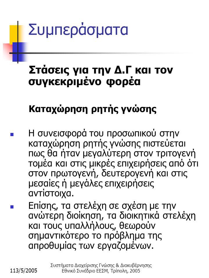 113/5/2005 Συστήματα Διαχείρισης Γνώσης & Διακυβέρνησης Εθνικό Συνέδριο ΕΕΣΜ, Τρίπολη, 2005 Συμπεράσματα Στάσεις για την Δ.Γ και τον συγκεκριμένο φορέα Καταχώρηση ρητής γνώσης  Η συνεισφορά του προσωπικού στην καταχώρηση ρητής γνώσης πιστεύεται πως θα ήταν μεγαλύτερη στον τριτογενή τομέα και στις μικρές επιχειρήσεις από ότι στον πρωτογενή, δευτερογενή και στις μεσαίες ή μεγάλες επιχειρήσεις αντίστοιχα.