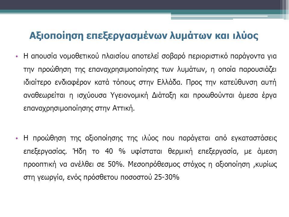 Αξιοποίηση επεξεργασμένων λυμάτων και ιλύος • Η απουσία νομοθετικού πλαισίου αποτελεί σοβαρό περιοριστικό παράγοντα για την προώθηση της επαναχρησιμοποίησης των λυμάτων, η οποία παρουσιάζει ιδιαίτερο ενδιαφέρον κατά τόπους στην Ελλάδα.