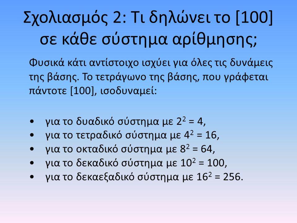 Σχολιασμός 2: Τι δηλώνει το [100] σε κάθε σύστημα αρίθμησης; Φυσικά κάτι αντίστοιχο ισχύει για όλες τις δυνάμεις της βάσης. Το τετράγωνο της βάσης, πο