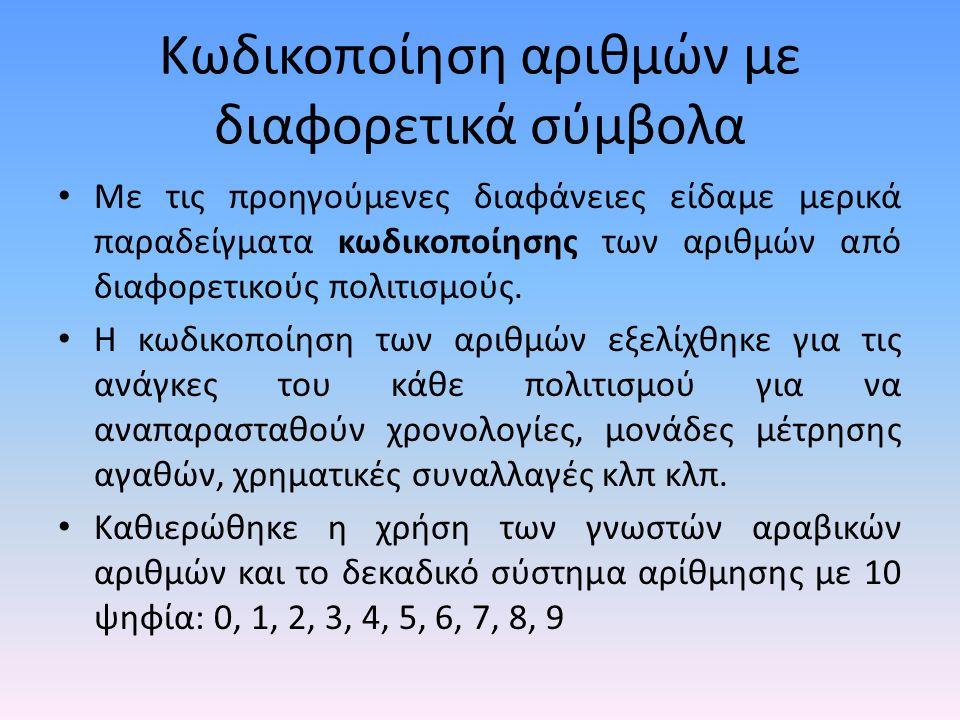 Βιβλιογραφία • http://en.wikipedia.org/wiki/Arabic_numbers http://en.wikipedia.org/wiki/Arabic_numbers • http://en.wikipedia.org/wiki/Greek_numerals http://en.wikipedia.org/wiki/Greek_numerals • http://www.geocities.com/rmlyra/Numbers.html http://www.geocities.com/rmlyra/Numbers.html • http://www2.ignatius.edu/faculty/turner/arabic/anumbers.htm http://www2.ignatius.edu/faculty/turner/arabic/anumbers.htm • http://utopia.duth.gr/~ksiop/lessons/plhroforikh_i.html http://utopia.duth.gr/~ksiop/lessons/plhroforikh_i.html • http://www.survey.ntua.gr/main/courses/general/csintro/lectures/IntroCS_2005 _lecture_1.pdf http://www.survey.ntua.gr/main/courses/general/csintro/lectures/IntroCS_2005 _lecture_1.pdf • http://www.cs.uoi.gr/~kabousia/pdf/LogicDesign/Th1_BinarySystems.pdf http://www.cs.uoi.gr/~kabousia/pdf/LogicDesign/Th1_BinarySystems.pdf • http://www.cs.uoi.gr/~lagaris/ITC/PowerPoint/SystimataArithmisis.ppt http://www.cs.uoi.gr/~lagaris/ITC/PowerPoint/SystimataArithmisis.ppt • http://en.wikipedia.org/wiki/Cyrillic_numerals http://en.wikipedia.org/wiki/Cyrillic_numerals • http://en.wikipedia.org/wiki/Roman_numerals http://en.wikipedia.org/wiki/Roman_numerals • http://blogs.sch.gr/manolas/2008/09/25/%CF%83%CF%85%CF%83%CF%84%CE %AE%CE%BC%CE%B1%CF%84%CE%B1- %CE%B1%CF%81%CE%AF%CE%B8%CE%BC%CE%B7%CF%83%CE%B7%CF%82/ http://blogs.sch.gr/manolas/2008/09/25/%CF%83%CF%85%CF%83%CF%84%CE %AE%CE%BC%CE%B1%CF%84%CE%B1- %CE%B1%CF%81%CE%AF%CE%B8%CE%BC%CE%B7%CF%83%CE%B7%CF%82/