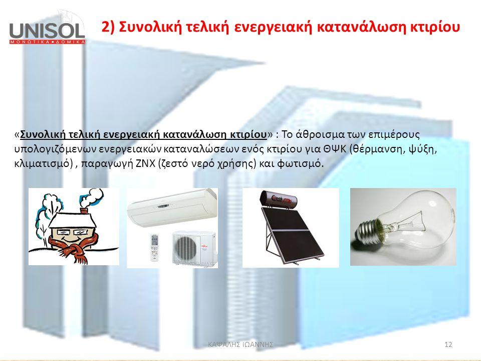 ΚΑΨΑΛΗΣ ΙΩΑΝΝΗΣ12 2) Συνολική τελική ενεργειακή κατανάλωση κτιρίου «Συνολική τελική ενεργειακή κατανάλωση κτιρίου» : Το άθροισμα των επιμέρους υπολογι