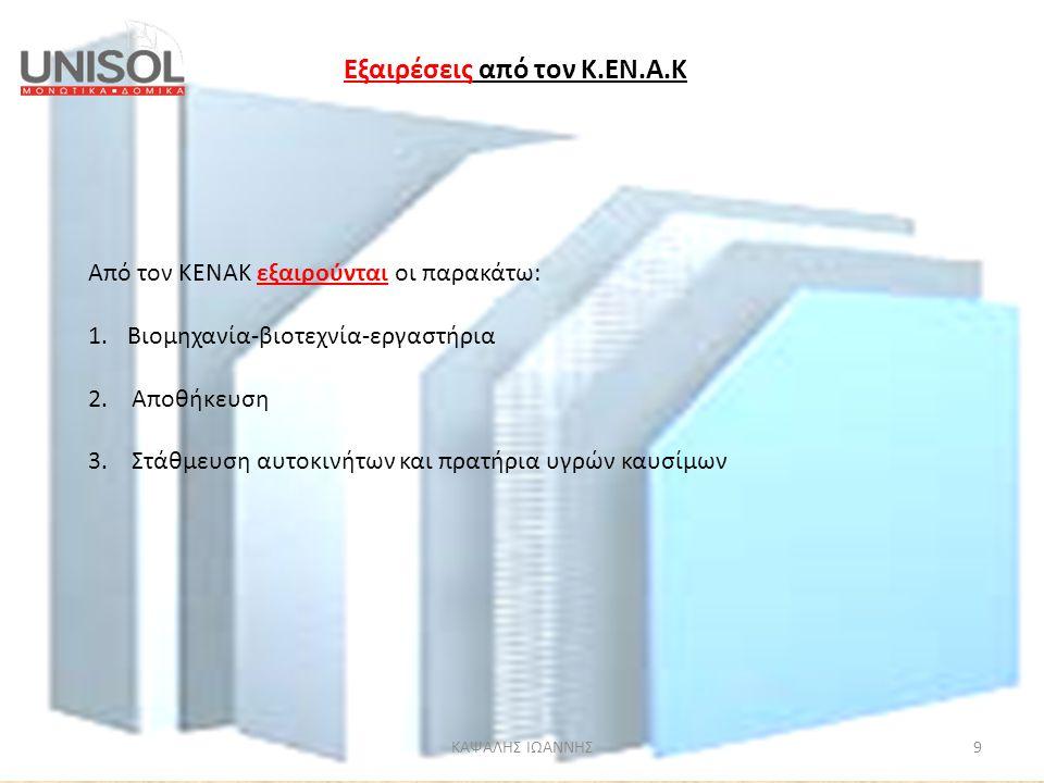 ΚΑΨΑΛΗΣ ΙΩΑΝΝΗΣ9 Από τον ΚΕΝΑΚ εξαιρούνται οι παρακάτω: 1.Βιομηχανία-βιοτεχνία-εργαστήρια 2. Αποθήκευση 3. Στάθμευση αυτοκινήτων και πρατήρια υγρών κα