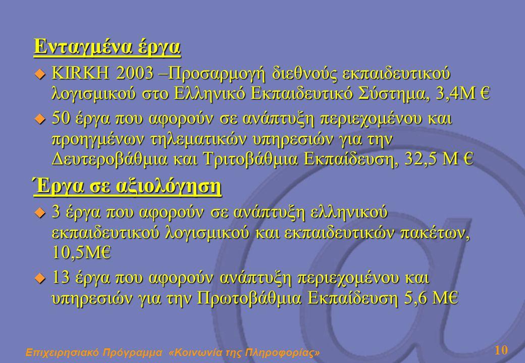 Επιχειρησιακό Πρόγραμμα «Κοινωνία της Πληροφορίας» 10 Ενταγμένα έργα  KIRKH 2003 –Προσαρμογή διεθνούς εκπαιδευτικού λογισμικού στο Ελληνικό Εκπαιδευτικό Σύστημα, 3,4Μ €  50 έργα που αφορούν σε ανάπτυξη περιεχομένου και προηγμένων τηλεματικών υπηρεσιών για την Δευτεροβάθμια και Τριτοβάθμια Εκπαίδευση, 32,5 Μ € Έργα σε αξιολόγηση  3 έργα που αφορούν σε ανάπτυξη ελληνικού εκπαιδευτικού λογισμικού και εκπαιδευτικών πακέτων, 10,5Μ€  13 έργα που αφορούν ανάπτυξη περιεχομένου και υπηρεσιών για την Πρωτοβάθμια Εκπαίδευση 5,6 Μ€
