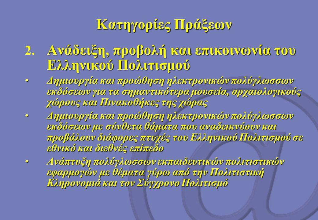 Κατηγορίες Πράξεων Κατηγορίες Πράξεων Ανάδειξη, προβολή και επικοινωνία του Ελληνικού Πολιτισμού 2.