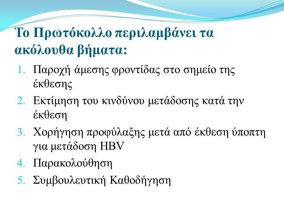 Το Πρωτόκολλο περιλαμβάνει τα ακόλουθα βήματα: 1.Παροχή άμεσης φροντίδας στο σημείο της έκθεσης 2.