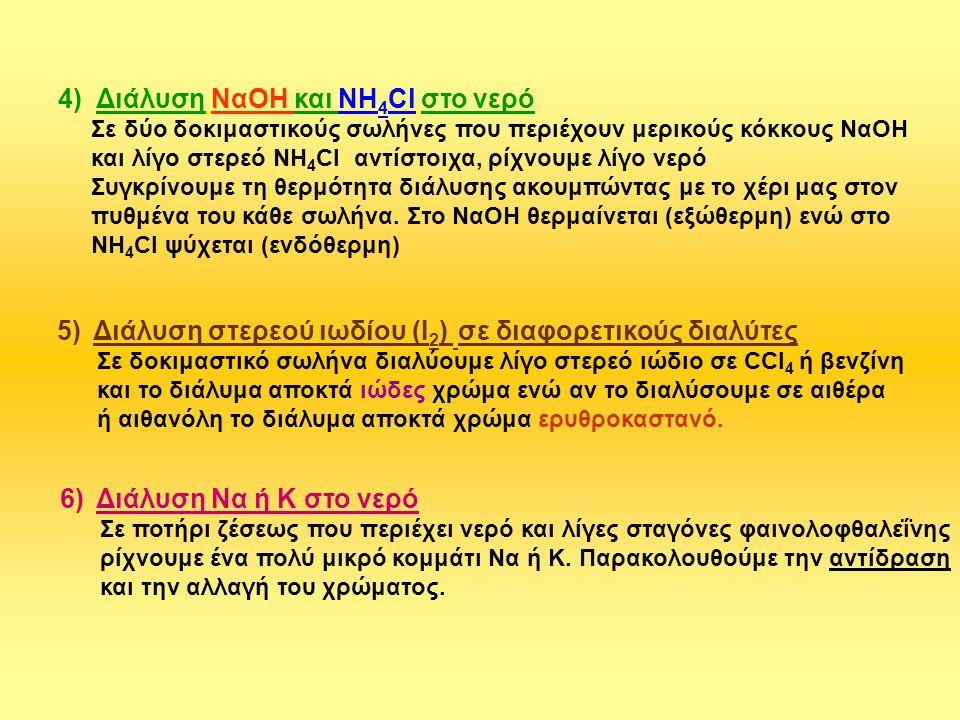 4) Διάλυση ΝαΟΗ και ΝΗ 4 Cl στο νερό Σε δύο δοκιμαστικούς σωλήνες που περιέχουν μερικούς κόκκους ΝαΟΗ και λίγο στερεό NH 4 Cl αντίστοιχα, ρίχνουμε λίγ