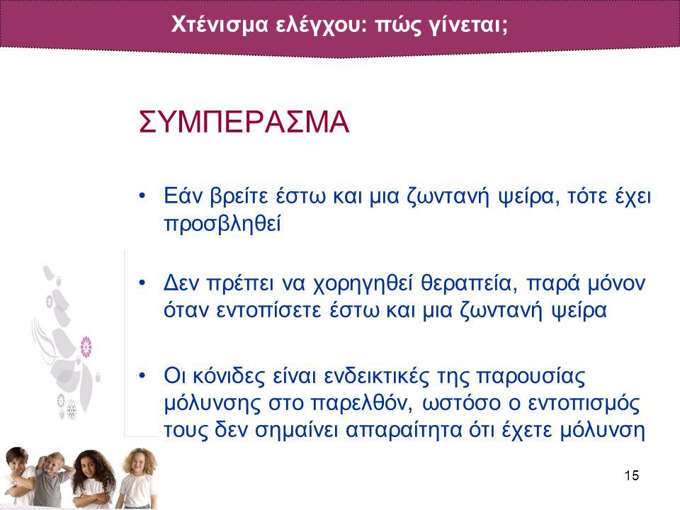 15 ΣΥΜΠΕΡΑΣΜΑ •Εάν βρείτε έστω και μια ζωντανή ψείρα, τότε έχει προσβληθεί •Δεν πρέπει να χορηγηθεί θεραπεία, παρά μόνον όταν εντοπίσετε έστω και μια ζωντανή ψείρα •Οι κόνιδες είναι ενδεικτικές της παρουσίας μόλυνσης στο παρελθόν, ωστόσο ο εντοπισμός τους δεν σημαίνει απαραίτητα ότι έχετε μόλυνση Χτένισμα ελέγχου: πώς γίνεται;