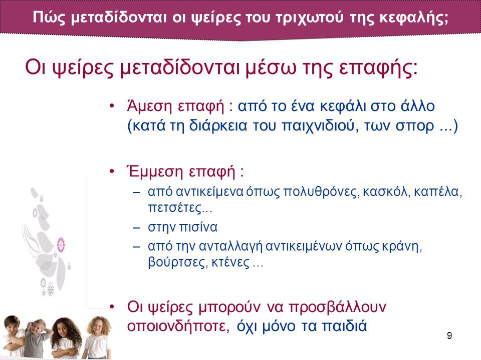 9 Οι ψείρες μεταδίδονται μέσω της επαφής: •Άμεση επαφή : από το ένα κεφάλι στο άλλο (κατά τη διάρκεια του παιχνιδιού, των σπορ...) •Έμμεση επαφή : –από αντικείμενα όπως πολυθρόνες, κασκόλ, καπέλα, πετσέτες...